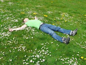 Sleep on grass